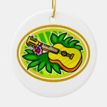 Ukulele With Leaves and Flower Circle , Yellow Ceramic Ornament