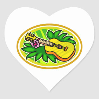 Ukulele With Leaves and Flower Circle , Yellow Heart Sticker
