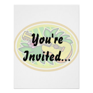Ukulele With Leaves and Flower Circle , Yellow Personalized Invites