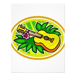 Ukulele With Leaves and Flower Circle , Yellow Invites