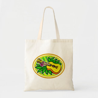 Ukulele With Leaves and Flower Circle , Yellow Tote Bag