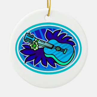 Ukulele with leaves and flowers circle, blue Double-Sided ceramic round christmas ornament