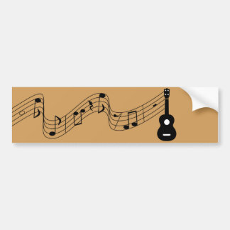 Ukulele with Music Notes Bumper Sticker