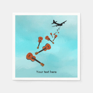Ukuleles being dropped from a plane paper napkin