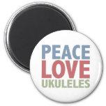 Ukuleles del amor de la paz iman de frigorífico