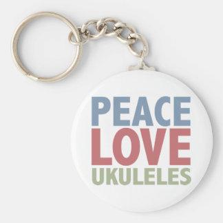 Ukuleles del amor de la paz llavero redondo tipo pin