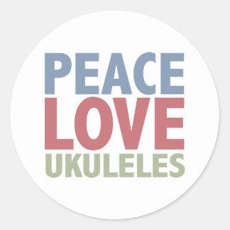 Ukuleles del amor de la paz pegatina redonda
