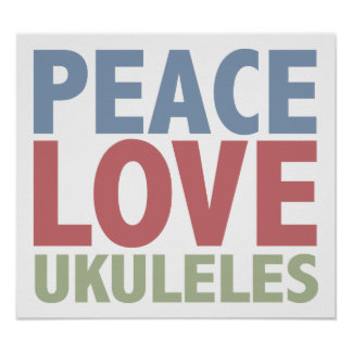 Ukuleles del amor de la paz póster