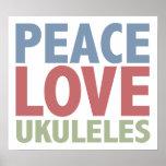 Ukuleles del amor de la paz posters