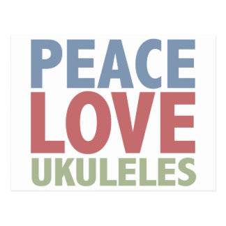 Ukuleles del amor de la paz postal