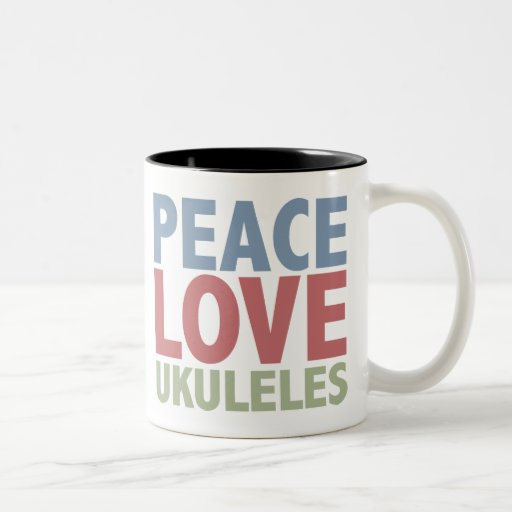 Ukuleles del amor de la paz taza de café