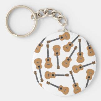 Ukuleles Uke Basic Round Button Keychain
