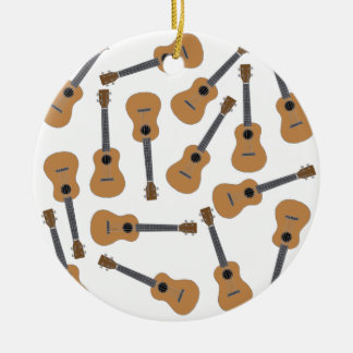 Ukuleles Uke Double-Sided Ceramic Round Christmas Ornament