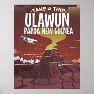 Ulawun Papua New Guinea vintage cartoon poster. Poster