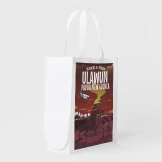 Ulawun Papua New Guinea vintage cartoon poster Reusable Grocery Bag