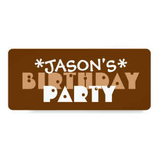 ULINK Modern Birthday Party BROWN and TAN A03 Card