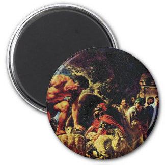 Ulises en la cueva de Polyphemus de Jordaens Jaco Imán Redondo 5 Cm