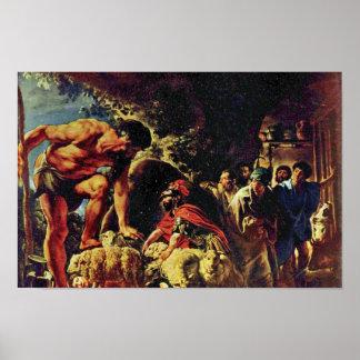 Ulises en la cueva de Polyphemus de Jordaens Jaco Póster