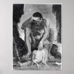 Ulises que escapa de Polyphemus los Cyclops Póster