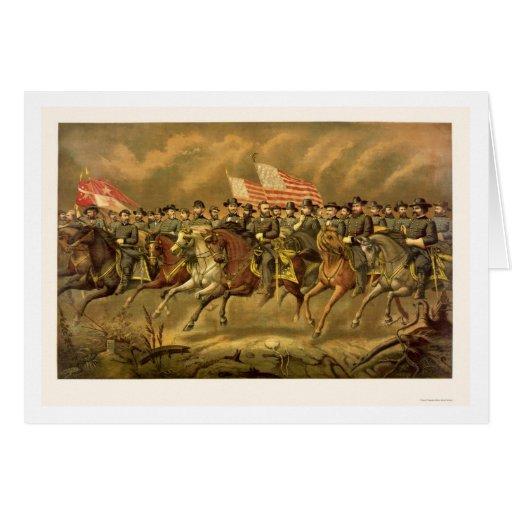 Ulises S. Grant y sus generales de E. Boell 1865 Tarjeta De Felicitación