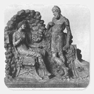 Ulises y Calypso, de Tanagra Calcomanías Cuadradas Personalizadas