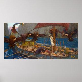Ulises y las sirenas de J W Waterhouse Poster