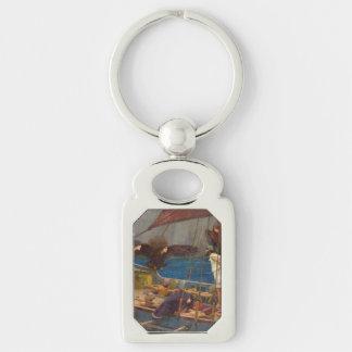 Ulises y las sirenas de John William Waterhouse Llavero Plateado Rectangular