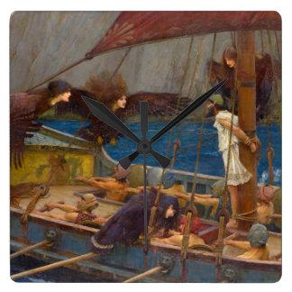 Ulises y las sirenas de John William Waterhouse Reloj Cuadrado
