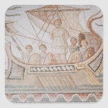 Ulises y las sirenas pegatina cuadrada