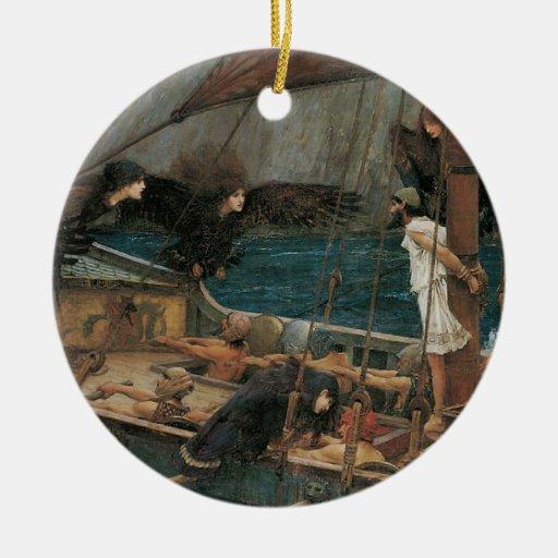 Ulises y las sirenas por el Waterhouse de JW Adorno Navideño Redondo De Cerámica