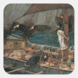 Ulises y las sirenas por el Waterhouse de JW Pegatina Cuadrada