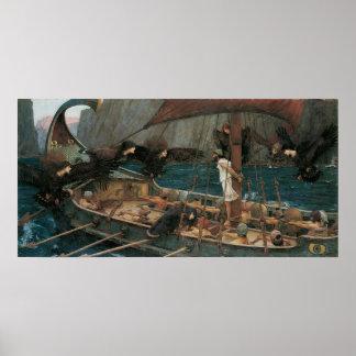 Ulises y las sirenas por el Waterhouse de JW Póster