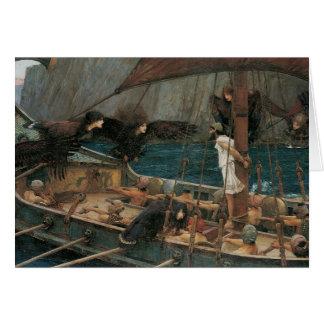 Ulises y las sirenas por el Waterhouse de JW Tarjeta De Felicitación