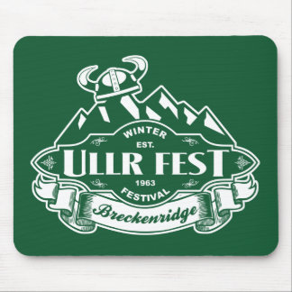 Ullr Fest Mountain Emblem Green Mouse Pads