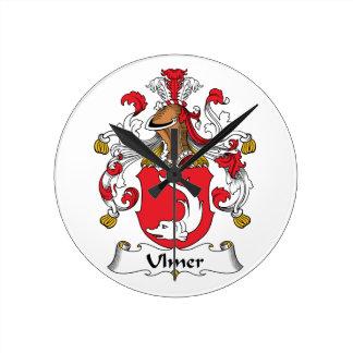 Ulmer Family Crest Round Clock