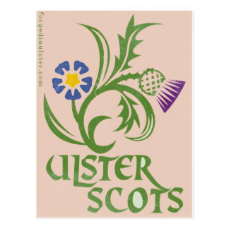 Ulster-Scots flax & thistle design. Postcard