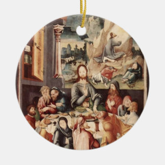 Última cena adorno navideño redondo de cerámica