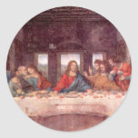 Última cena de Leonardo da Vinci, arte Pegatinas Redondas