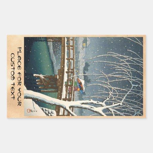 Última nieve a lo largo del arte del invierno del pegatina rectangular