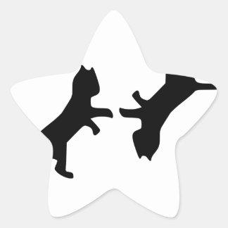 Última pelea de gatos - maullido pegatinas forma de estrellaes personalizadas