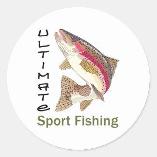 Última pesca deportiva pegatina redonda