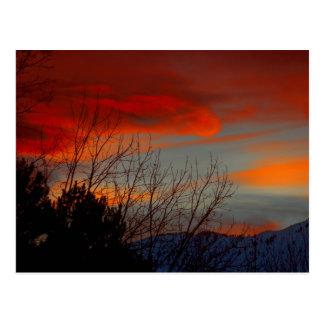Última puesta del sol del invierno postal