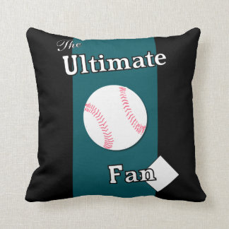 Ultimate Baseball Fan Black and Teal Throw Pillow