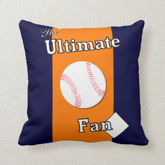Ultimate Baseball Fan Blue and Orange Gent Throw Pillow