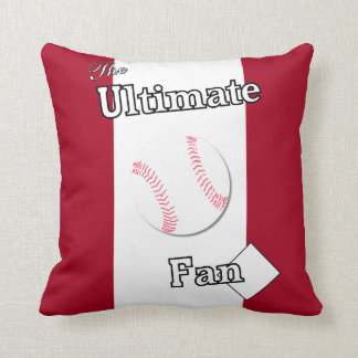 Ultimate Baseball Fan Cardinal and White 2 Throw Pillow