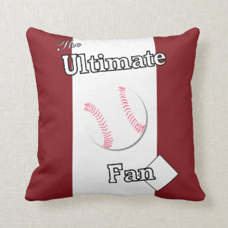 Ultimate Baseball Fan Cardinal and White Throw Pillow