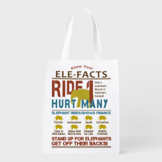 Ultimate Elephant Ride Facts Reusable Grocery Bag