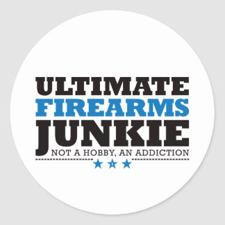Ultimate Firearms Junkie - Blue Classic Round Sticker