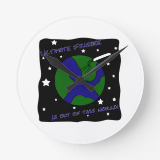 Ultimate Frisbee Out of this World Round Clock