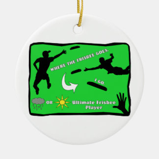 Ultimate Frisbee Rain or Shine Double-Sided Ceramic Round Christmas Ornament